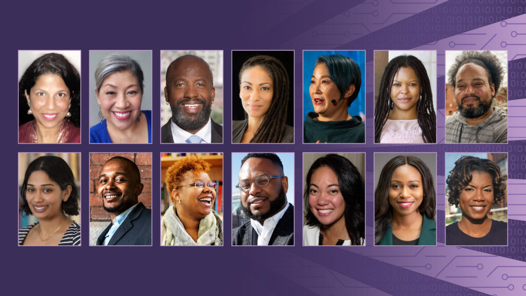 A compilation of the headshots of the 14 speakers in the lecture series. Seven headshots in the top row and seven in the bottom row set against a purple background incorporating representations of circuits and binary code.