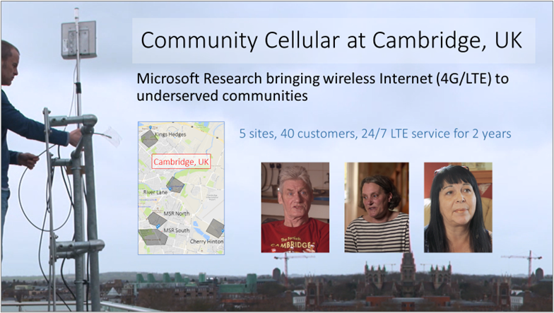 Community Cellular at Cambridge, UK  Picture of a cellular tower installation with a map showing the network location in Cambridge, UK, plus pictures of three customers