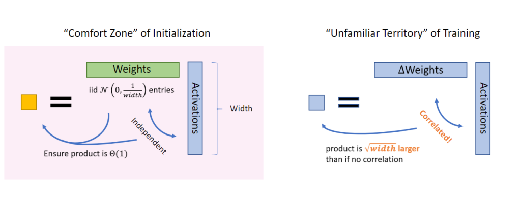 """We must go beyond the """"comfort zone"""" of initialization and venture into the """"unfamiliar territory"""" of training. At initialization, the weights are independent from the incoming activations, so their product is easy to reason about (for example, by using Central Limit Theorem); hence initialization is a """"comfort zone."""" However once training starts, the weights (more precisely, the change in weights due to the gradient updates) start to correlate with the activations, so we must exit this comfort zone. A Law-of-Large-Number intuition would suggest that their product is square-root-of-width larger than if there are no correlation."""