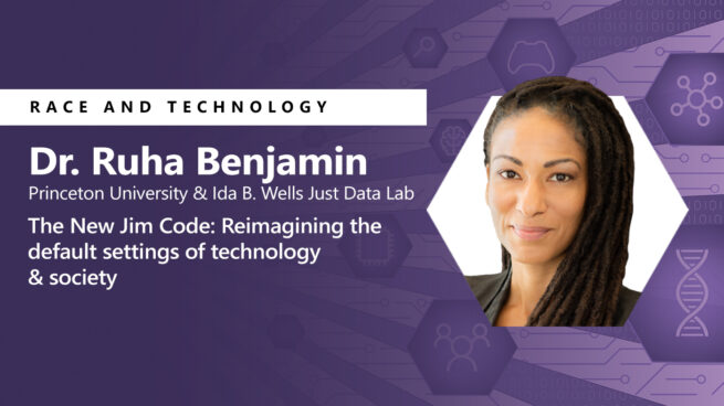 Race and Technology text and photo of woman on purple background