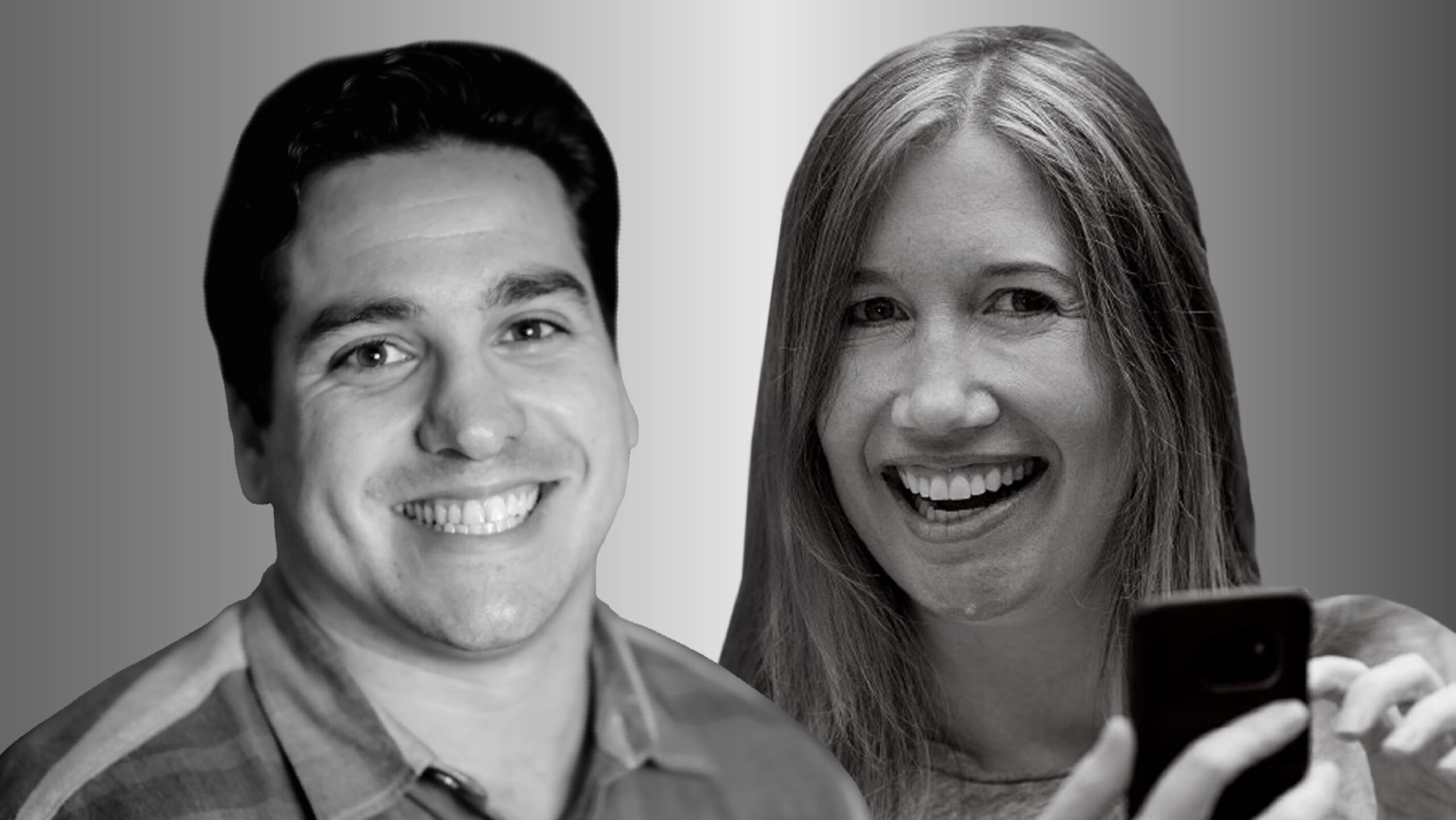 Two people side by side, Matt Brodsky on the left and Jaime Teevan on the right,in black and white smile and look forward. Teevanis holding a cell phone.