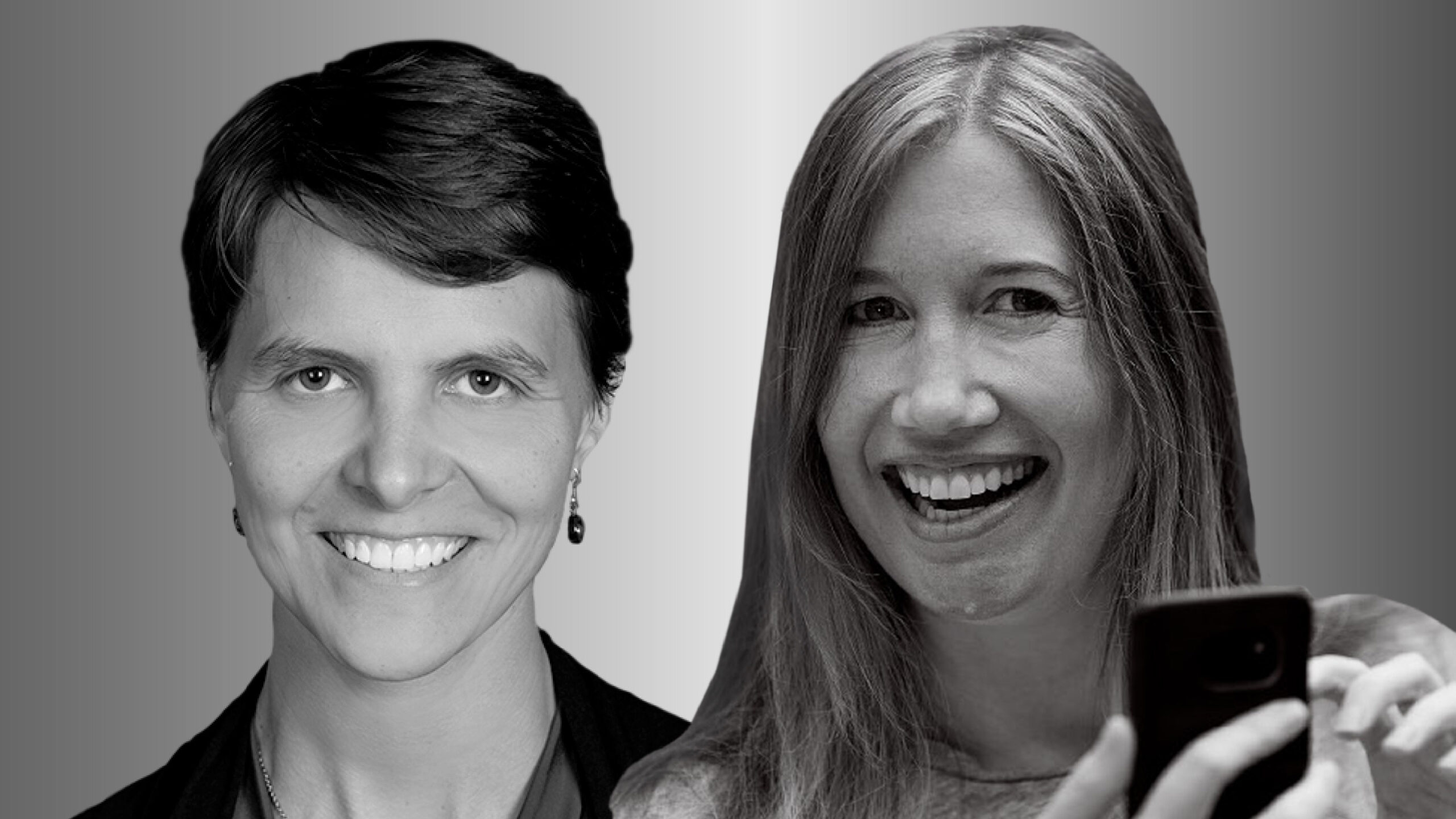 Two women side by side, Sonia Jaffe on the left and Jaime Teevan on the right, in black and white smile and look forward. Teevan is holding a cell phone.