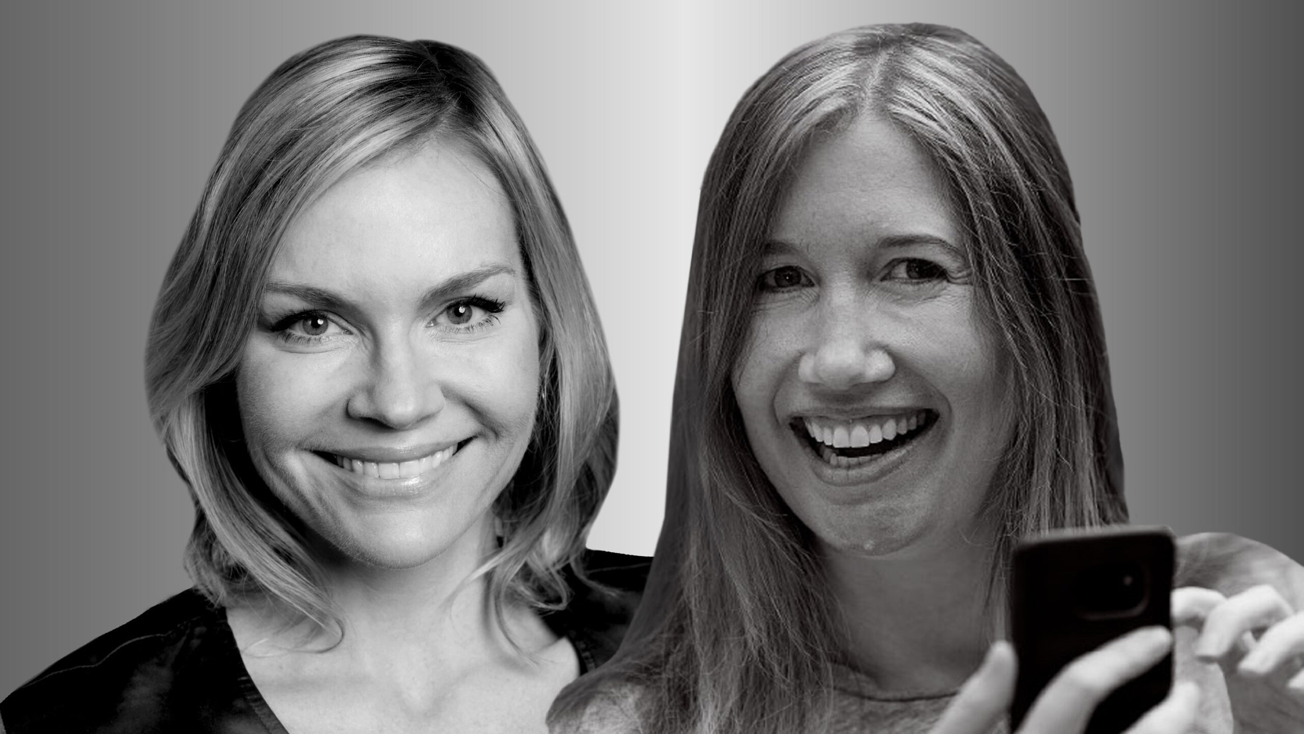 Portraits of Microsoft researchers Ginger Hudson and Jaime Teevan photographed in black and white. Both smile and look forward. Teevan, on the right, is holding a cell phone in the lower right of the frame.