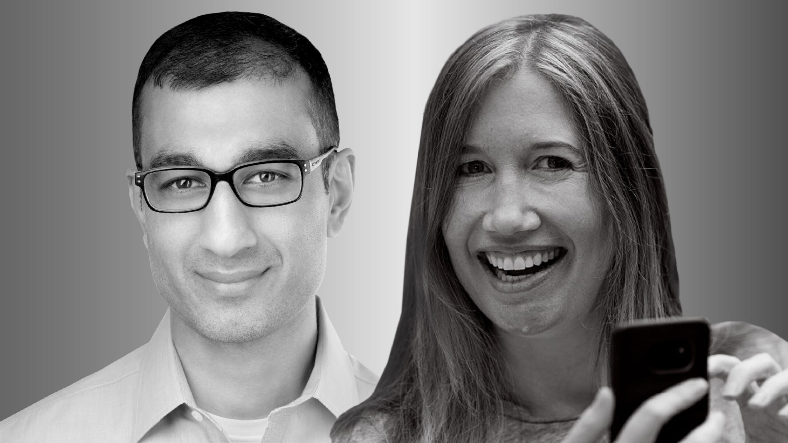 Portraits of Microsoft researchers Sid Suri and Jaime Teevan photographed in black and white. Both smile and look forward. Teevan, on the right, is holding a cell phone in the lower right of the frame.
