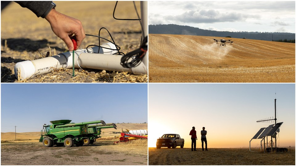 A set of four photos showing scenes from a farm. 1) Two people stand in a field by a pickup truck and a small structure with solar power arrays and an antenna. 2) A hand sets a small metal and plastic sensor into the ground. 3) An aerial drone sprays a light colored powder above a crop field. 4) Harvesting trucks and other farm equipment on a gravel road next to rolling hills.