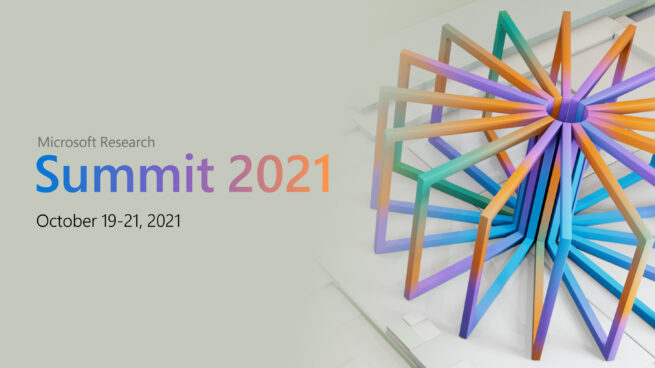 Microsoft Research summit on October 19-21, 2021. Text on a beige background with a multi-color wheel on the right.