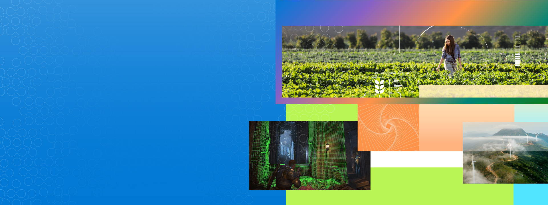 Research for Industry header: agri-food, energy, gaming image collage
