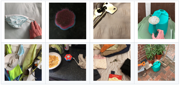 Two rows of images that were submitted by users. Top: an off-center image of a light blue surgical mask and a hand touching the left ear loop, an upside-down blue and bright pink pet brush in the upper left of the frame, an image of a set of gold keys that are partially cut off in the frame, a teal watering can shot at a sharp angle with a hand in the foreground. Bottom: a partial image of a set of wall hooks full of clothes and other miscellaneous items including the surgical mask, a black countertop with the blue and bright pink pet brush in the center of the frame with partial images of a cereal bowl, a bag of bananas, and a beige bag; a blurry image of the gold keys on a bed with towels, clothing and a book all cropped; an overhead view of the teal watering can and partial images of plants on a brick patio.