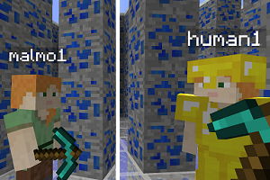Minecraft scene with one human and one AI agent