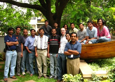 Venkat Padmanabhan (fifth from left) with his Mobility, Networks, and Systems group.