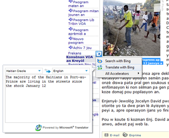 A Web page translated into Haitian Creole.