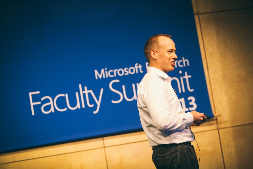 Doug Burger, director of client and cloud apps for Microsoft Research's Extreme Computing Group, speaks about how changes in the hardware ecosystem will disrupt computer science during Monday's closing keynote of the Microsoft Research Faculty Summit.