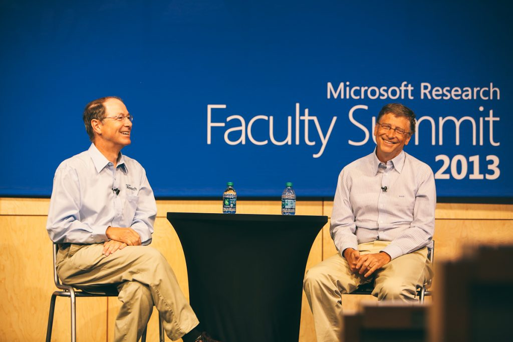 Microsoft corporate vice president, Rick Rashid, moderates Q&A session with Bill Gates, Microsoft chairman July 15 during the opening keynote of the Microsoft Research Faculty Summit 2013.