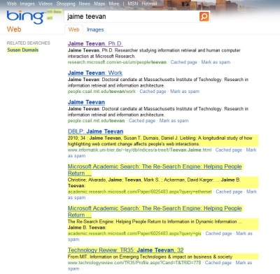 Screenshot of a Bing search results page with new content highlighted in yellow