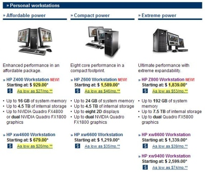 Screenshot of an HP product comparison page showing changed prices highlighted in yellow.