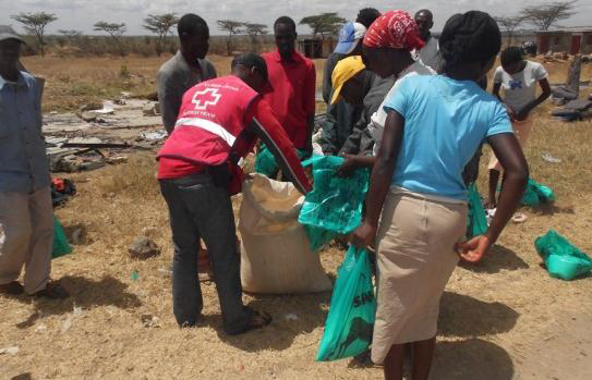 Volunteers provide donations via Laikipia County Red Cross, Nanyuki, Kenya