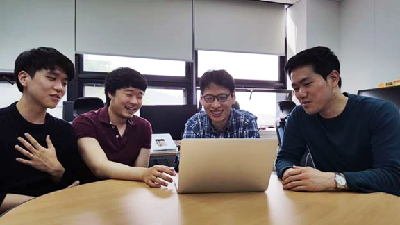 Vortex team in SNU (from left to right); Geon-Woo Kim, Youngseok Yang, Byung-Gon Chun, and Yunseong Lee