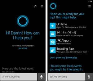 Screen capture of the Cortana help screen