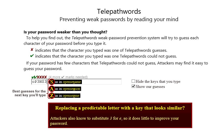 Telepathwords user interface