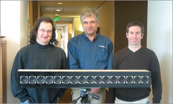 Jasha Droppo (left), Ivan Tashev (center), and Mike Seltzer display the latest version of their Personal Audio Space sound-targeting speaker array.