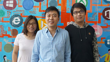 From left, Lei Ji, Jun Yan and Dawei Zhang of Microsoft Research Asia were key players in the development of Microsoft Concept Graph.