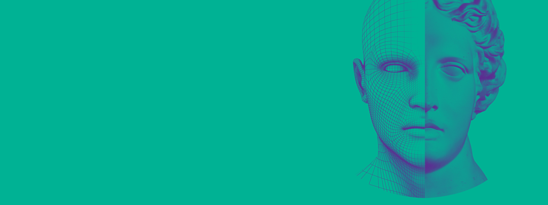 Portrait on green background, header for New England Machine Learning Day event page