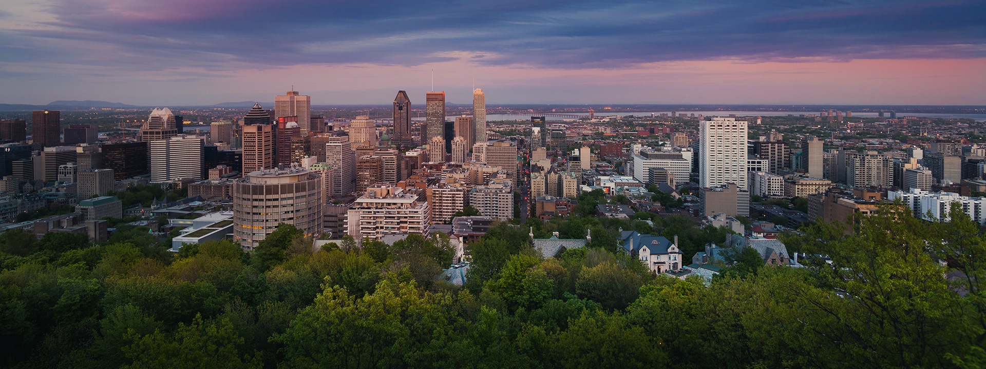 Dramatic cloud over city of Montreal skyline at Quebec, Canada.