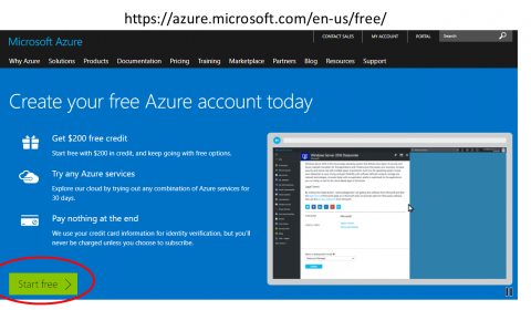 start screen for creating a free Azure account