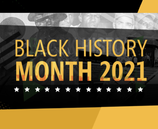 a black and yellow graphic for Black History Month