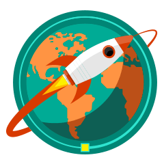 icon of a rocket circling a globe