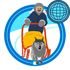 icon of dog sled racer