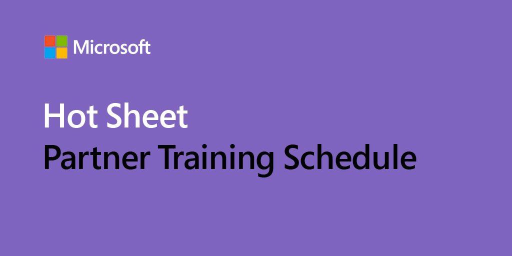 "Purple rectangular banner that says ""Hot Sheet Partner Training Schedule"""