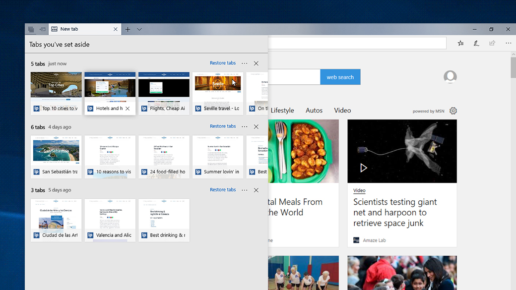 Screen image of several tabs being managed and organised in Edge