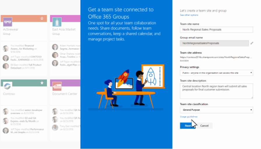 Create connected SharePoint Online team sites in seconds - Microsoft