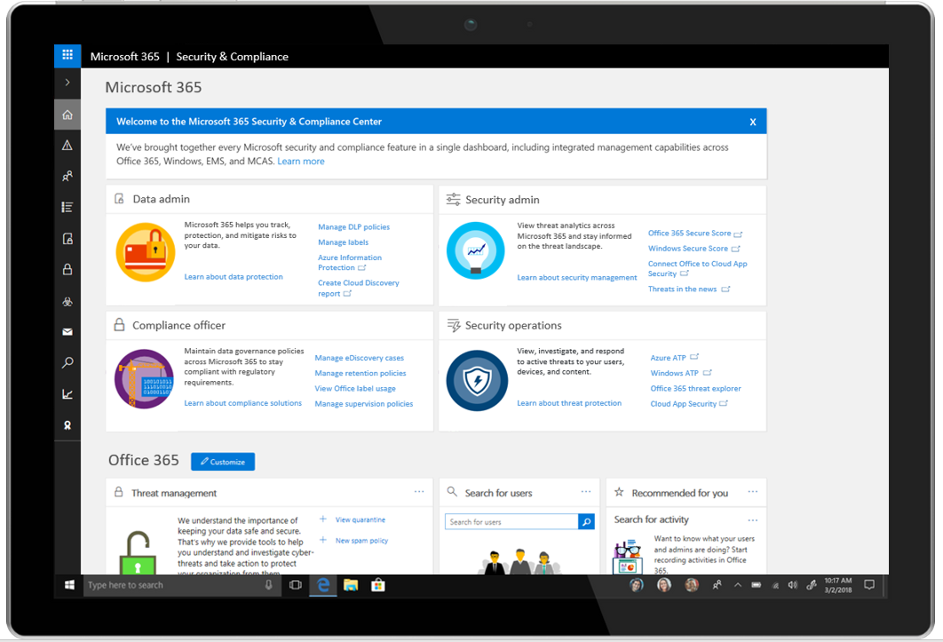 A tablet displays the Microsoft 365 Security & Compliance Center.