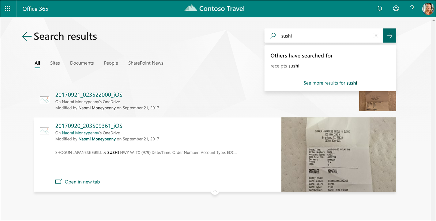 A screenshot showcases search results in the new Office.com.
