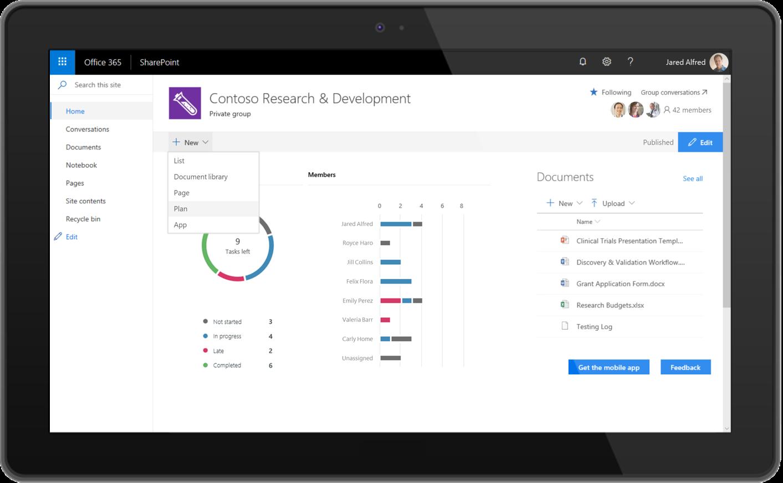 A screenshot of a Planner plan in SharePoint.