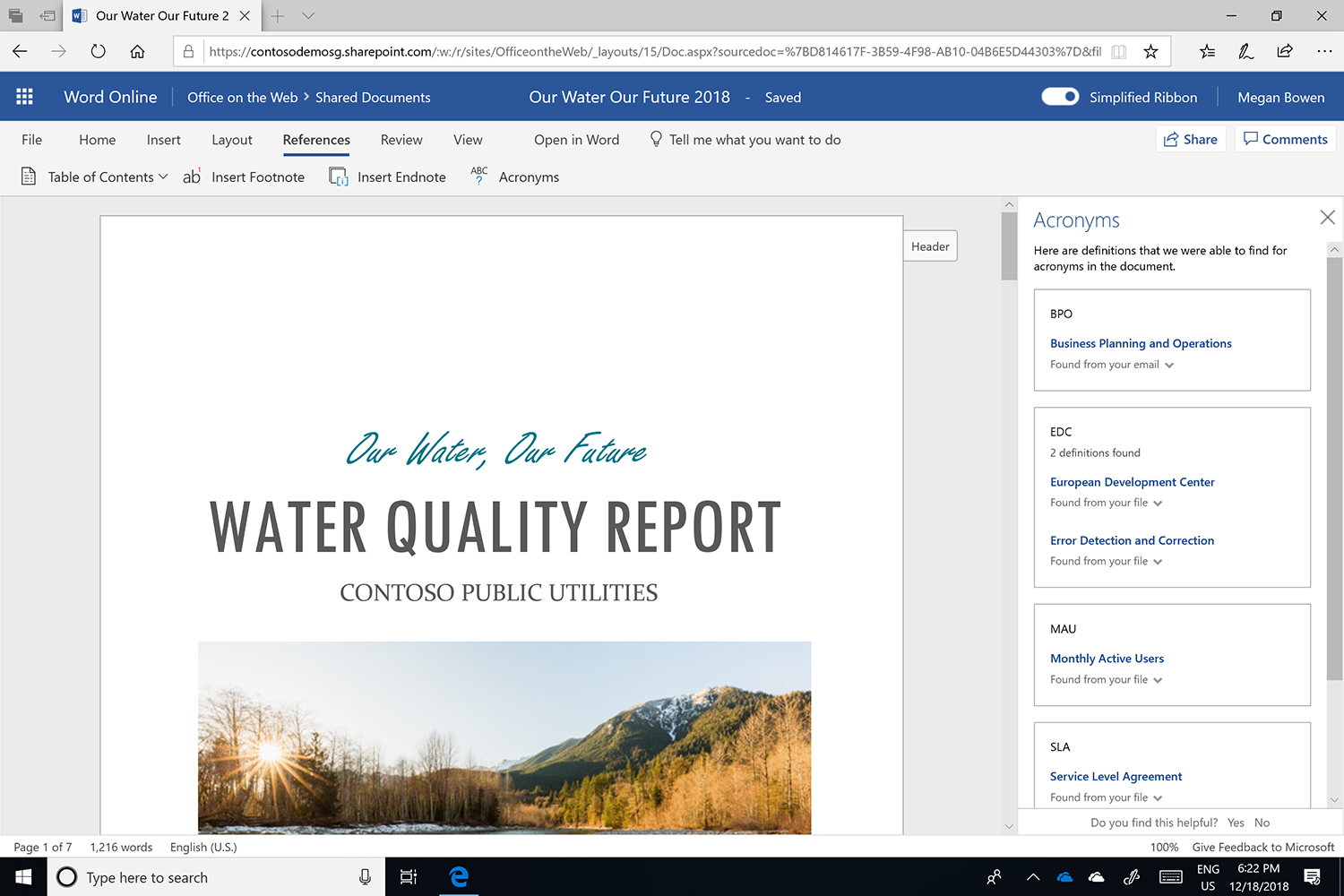 Screenshot of the Acronyms pane open in Microsoft Word.
