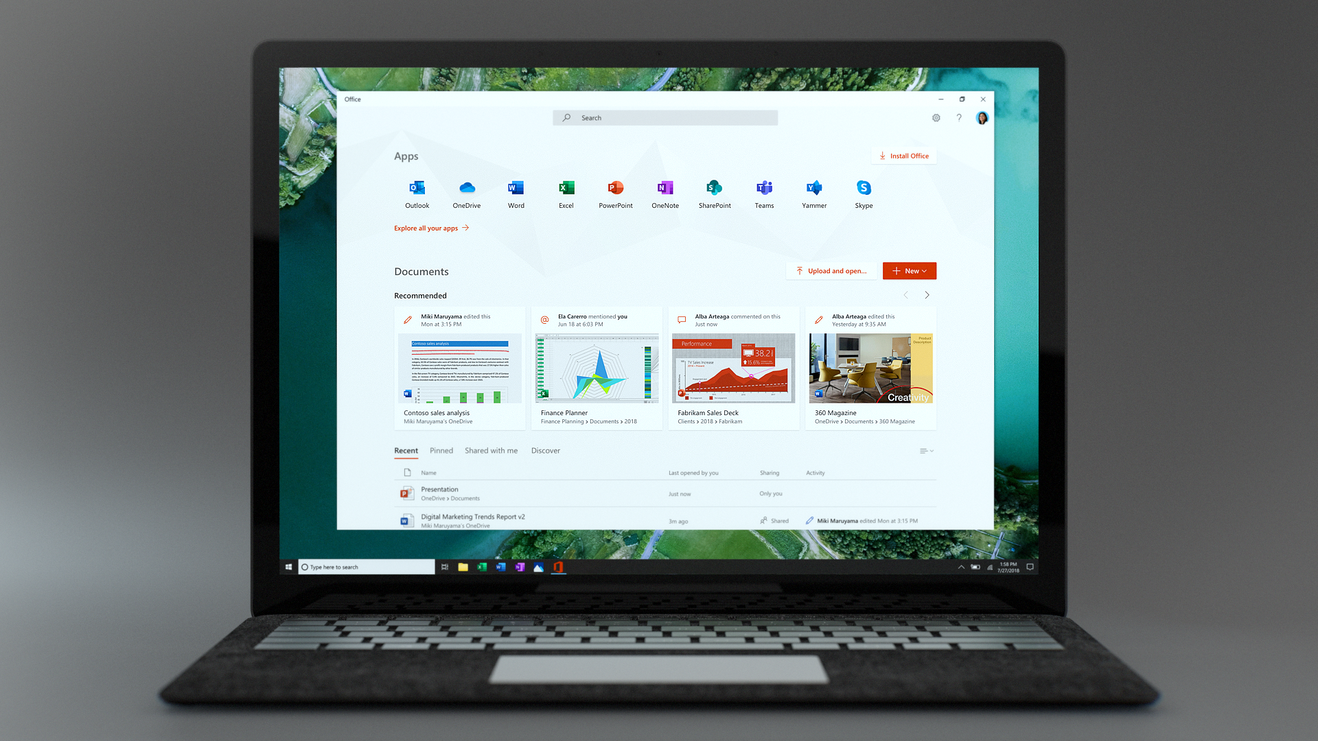 Image of a laptop open showing the new Office app on its screen.