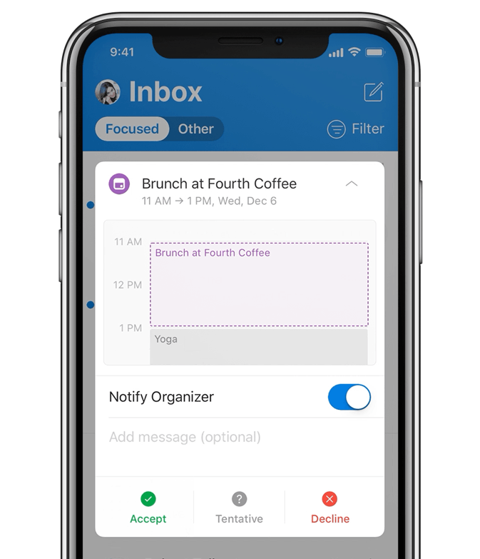Animated image of a mobile phone showing a user adding brunch to her calendar.