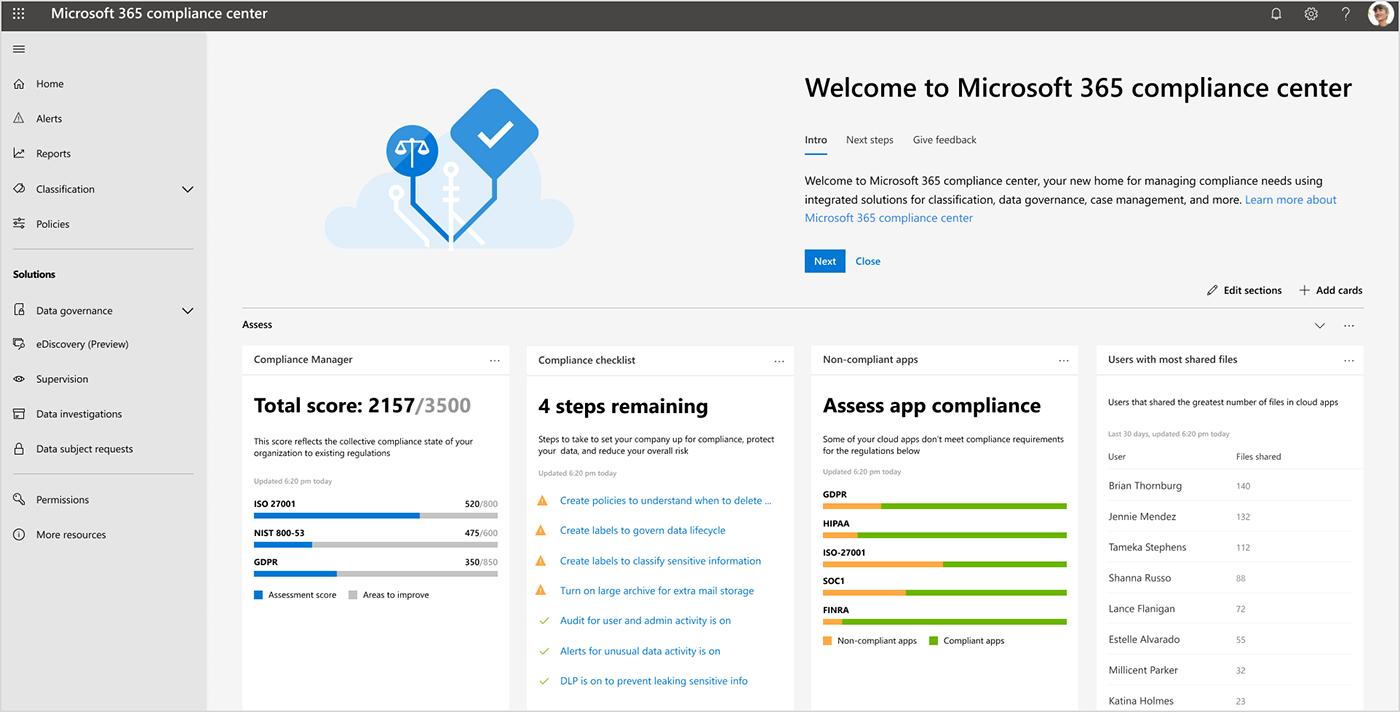 Screenshot of the Microsoft 365 compliance center dashboard.
