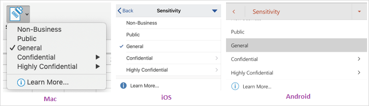 Screenshot of the data sensitivity dropdown shown on Mac, iOS, and Android.