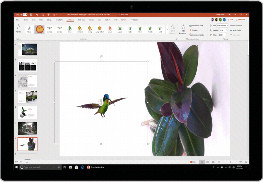 Image of an animated hummingbird used in a PowerPoint slide.