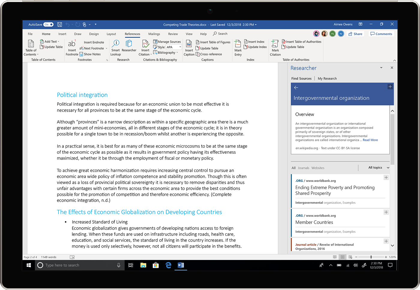 Image of the Researcher pane being used in Word.