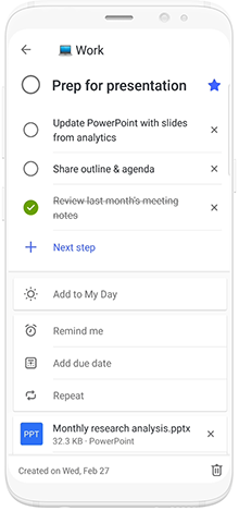 Image of a phone using Microsoft To-Do to schedule prep time for a presentation.