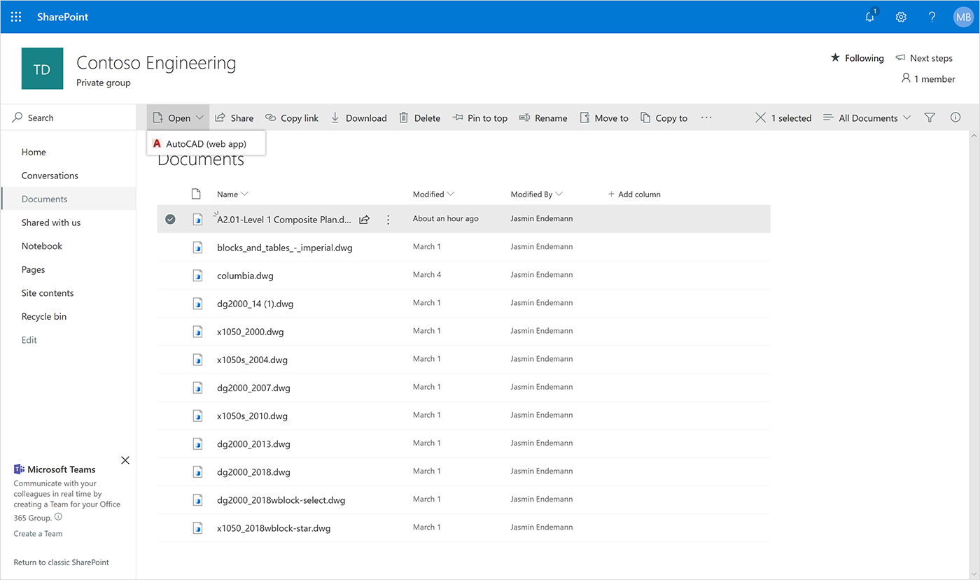 Screenshot of the AutoCAD web app opening in SharePoint.