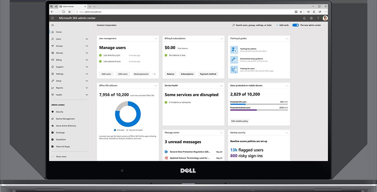 Image of the Microsoft 365 admin center dashboard.