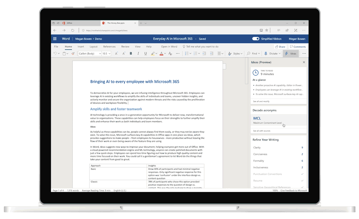 Screenshot of Ideas in Word, the AI-powered editor that helps with grammatical and writing suggestions.