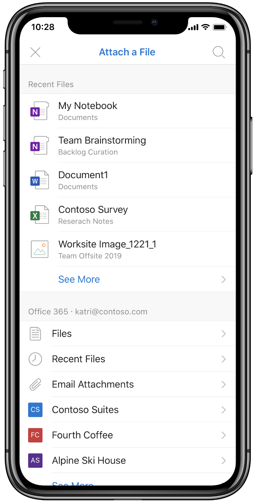 Screenshot of files being attached in Outlook for iOS.