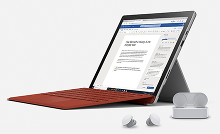 Image of the new Surface Pro X with Earbuds.